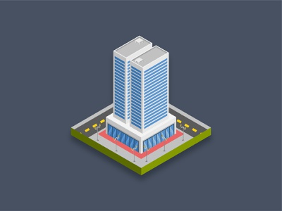 Residence building - Isometric 3D illustration. icon commercial road bank mall shopping city town famous building residential art graphic design illustration