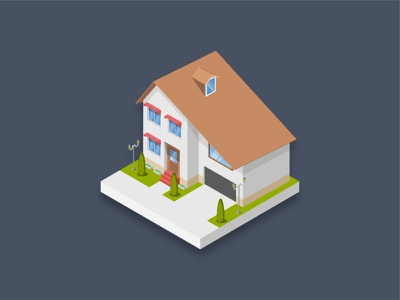 Residence house 3d art luxury home house famous building residential residence icon isometric 3d art graphic design illustration