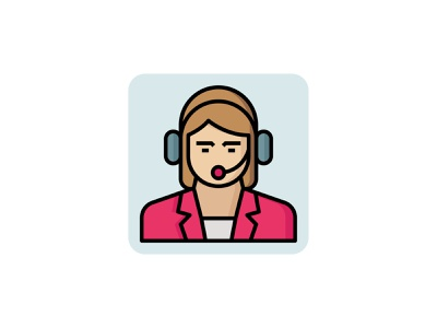 Service Employee 👇 job headphone helpline office female call center support customer lady employee service vector filled outline icon art graphic design illustration
