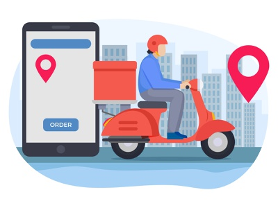 Delivery guy going to delivery food delivery deliveryman delivery person postman delivery boy vehicle scooter smartphone mobile navigation map gps location pin delivery location location food delivery food service art graphic design illustration