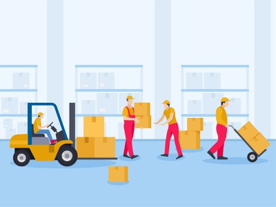Workers arranging packages in warehouse shipping service shipping delivery service boy male man person people delivery guy deliveryman delivery person postman forklift worker warehouse warehouse workers warehouse management storage facility storage room ware house