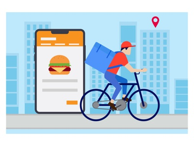 Food delivery 👇 food-delivery boy male man person people delivery guy deliveryman delivery person postman delivery boy phone smartphone mobile cycle navigation map gps location pin delivery location