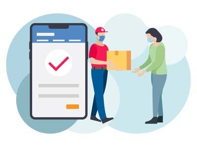 Home delivery 👇 person people delivery guy deliveryman delivery person postman delivery boy corona virus covid corona facemask mask corona delivery girl woman female shopping order delivery phone smartphone mobile