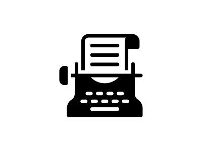 Typewriter 👇 black glyph vector document paper keyboard typing type compose composing typewriter icon art graphic design illustration