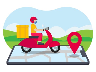 Delivery route 👇 food-delivery boy male man person people delivery guy deliveryman delivery person postman delivery boy vehicle scooter route delivery route navigation map gps location pin delivery location