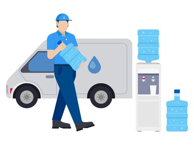 Man delivering water bottle 👇 shipping service shipping delivery service delivery boy boy male man character person people delivery guy deliveryman delivery person postman vehicle delivery vehicle water machine van truck delivery truck
