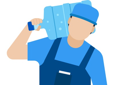 Delivery Man carrying water bottle on his shoulder 👇 delivery courier service shipping service shipping delivery service parcel courier delivery boy boy male man character person people delivery guy deliveryman delivery person postman package carrying weight
