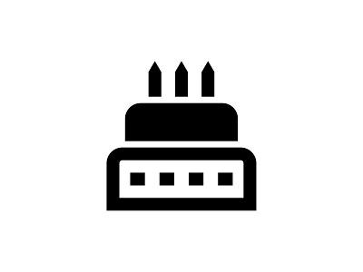 Birthday Cake 👇 anniversary candles desert sweet celebrate party cake birthday vector black glyph icon art graphic design illustration