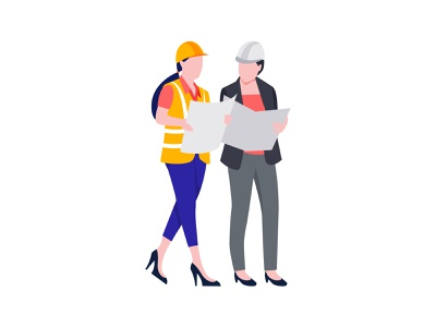 Engineers 👇 engineer engineers construction architect job worker work map blueprint female labour art graphic design illustration
