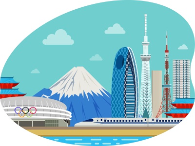 Tokyo Olympic Venue 👇 mountains sports logo art graphic design illustration