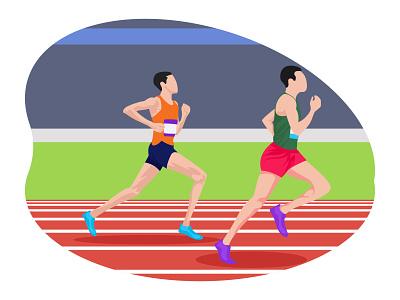 Running Race 👇 sport art graphic design illustration