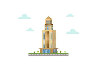 Bank Building 👇 office landmark landscape art graphic design illustration