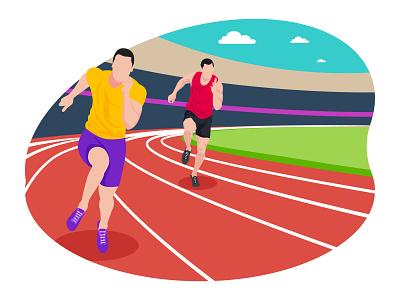 Male runner running in race 👇 tokyo olympic art graphic design illustration