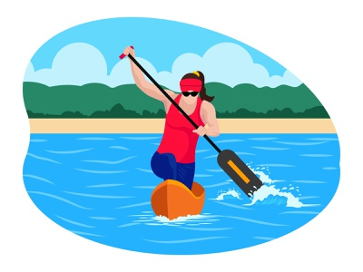 Female Boating player 👇 water art graphic design illustration