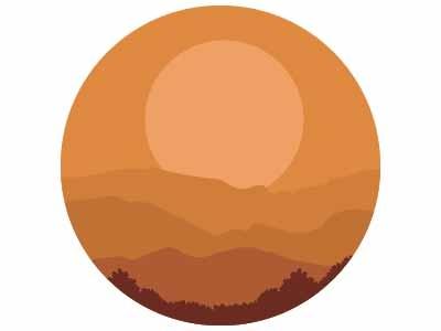 Landscape sunset landmark hills sun mountains landscape illustration