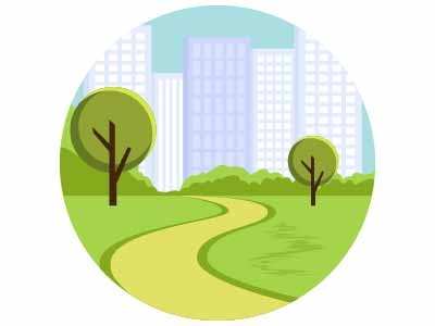 Landscape city guide greenery landforms road buildings city trees landmark nature illustration landscape