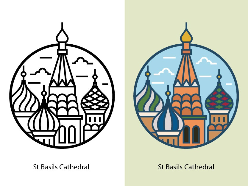 St Basils Cathedral red religious old famous museum europe dome church russia ancient moscow cathedral st basils monument landmark famous building landscape building illustration