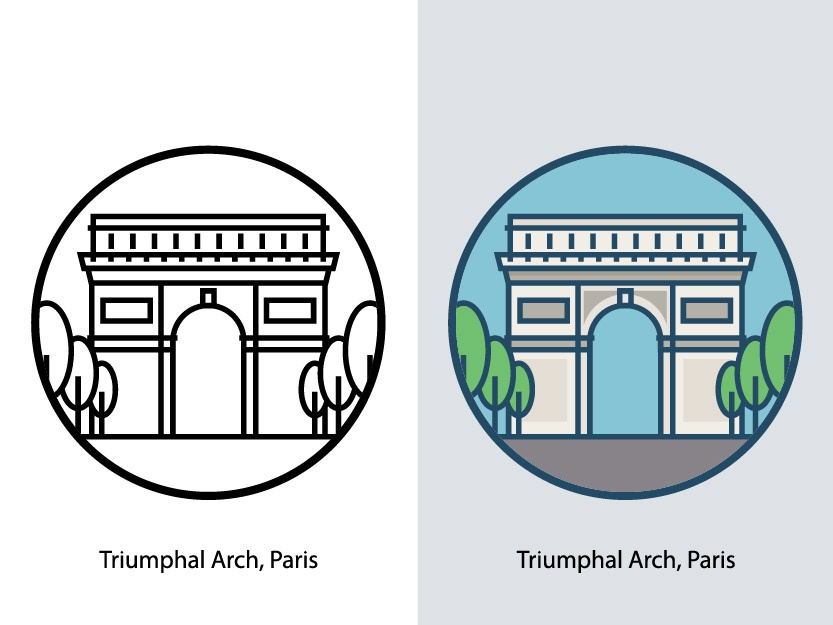 Triumphal Arch, Paris europe capital architecture famous cityscape city france triumphal gate arch trees famous building tourism monument landmark building landscape paris triumphal arch illustration