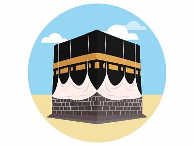 Kaaba - Makkah muslim masjid pray umrah arab saudi arabic hajj macca makkah islamic mosque kaabah vector tourism design monument landmark landscape illustration