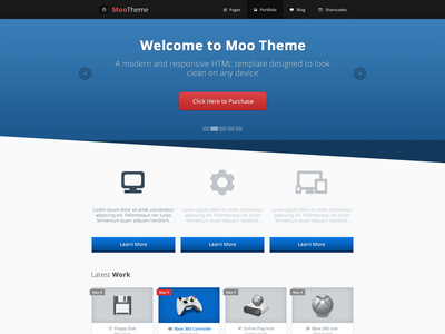 Moo Theme Index Page Preview web design responsive template html template modern minimal web 2.0