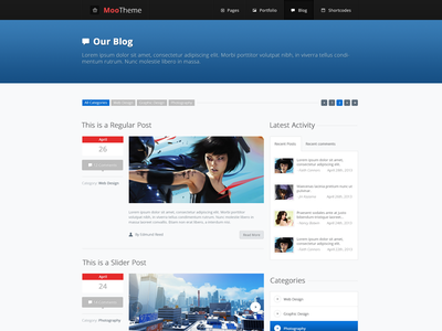 Moo Theme - Blog web design responsive template html template modern minimal website blog wordpress