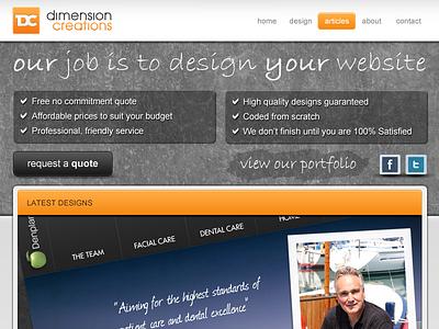 Dimension Creations website web design html photoshop homepage