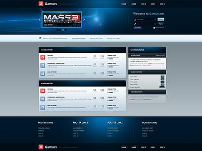 Gamurs Forum Theme gaming forum mybb website web design