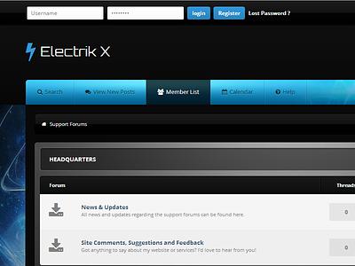 Electrik X mybb forum forums forum theme website web design