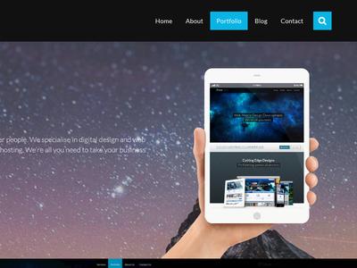 New Portfolio Page blue space flat website web design portfolio ipad parallax