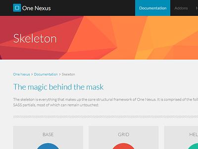One Nexus documentation website flat web design css responsive modern polygon grid
