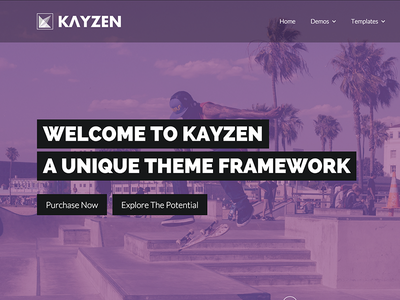 Kayzen alternate homepage preview web design purple theme flat modern website