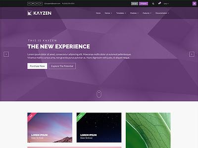 Kayzen alternate homepage preview shop ux ui web design purple theme flat modern website