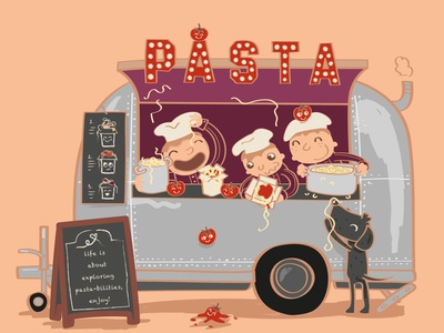 FEBRUARY - Basta la pasta! Who does not love a good plate of com childrensillustration adobe illustration character freework spagetti foodtruck pasta calendar 2021 2021 calendar