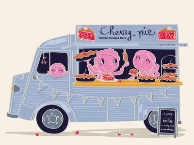 MARCH - cherry-pie truck hand drawn illustrator illustration caracter design caracter cherry pie cherry calendar foodtruck