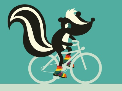 Colorfull bike boy skunk