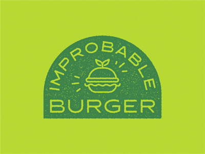 Improbable Burger Badge Logo monoline logo monoline food logo vegan food burger logo veganfood vegan logo vegan food burger flat logo typography logo design logodesign branding modern vector dribbble design