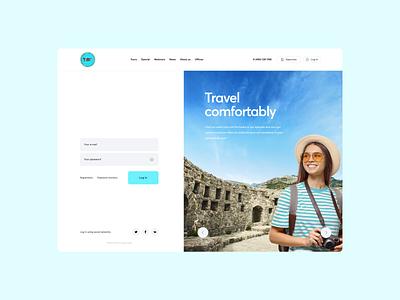 Travel agency Log in screen design web ux website ui log in