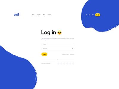 Log in screen e-commerce coffee web ux ui login