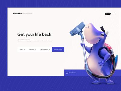 Oboosho Cleaning ui ux services design web whitem pure blue illustration cleaning