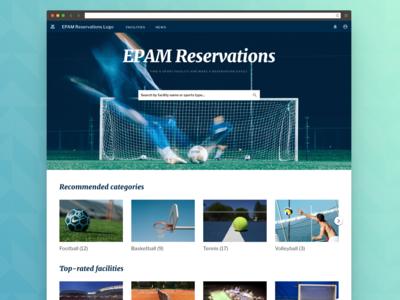 Sport Reservations Website - Homepage