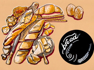 kitchen illustration of menu of bread products