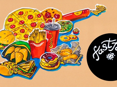 kitchen illustration of menu of fast food