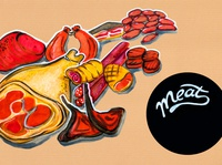 kitchen illustration of menu of meat products