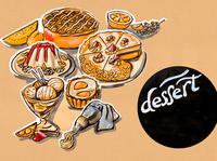 kitchen illustration of menu of desserts