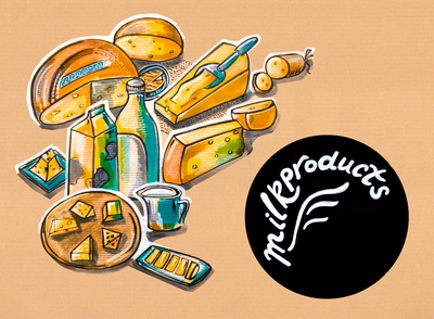 kitchen illustration of menu of milk products