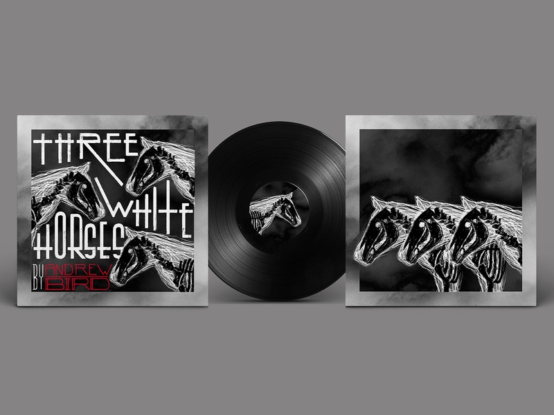Three White Horses (Single Cover for Andrew Bird) vinyl wrap andrew bird album cover cover art music print illustration design graphic design