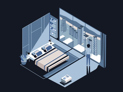 My apartment`s isometric illustration