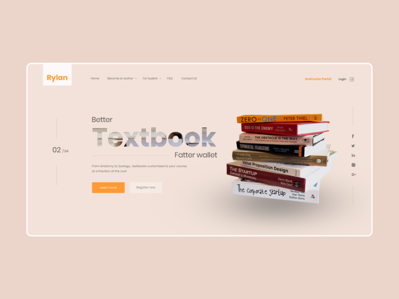 Main screen for the publishing house website publishing house book web ux ui design
