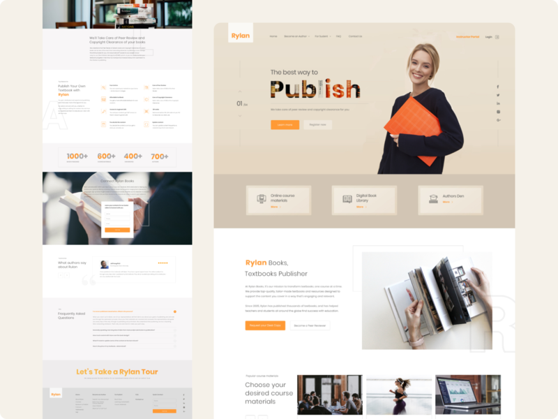 Home page for the publishing house website publishing house book web ux ui design