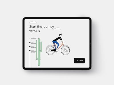 Onboarding Cyclist Character Animation illustration fixie character hair button journey cactus cloud tree cyclist bike man ass ux ui animation onboarding